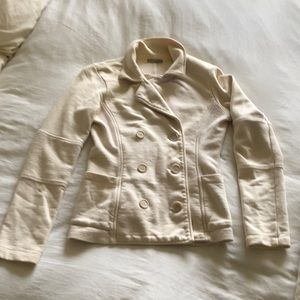 James Peres Cream Colored Sweatshirt Blazer